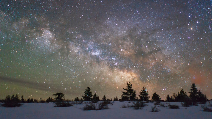 A Snowy Inyo National Forest and the Milky Way - Timelapse