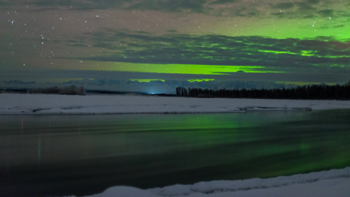 Alaska - Denali and the Aurora over the Susitna River - 30 Below Zero