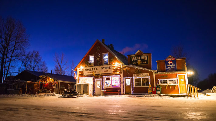 Alaska - Talkeetna Nagleys Store - Dawn … at 11am neer Winter Solstice