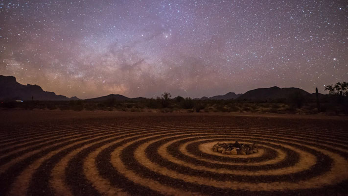 Arizona - Spiral Labyrinth - and the Milky Way