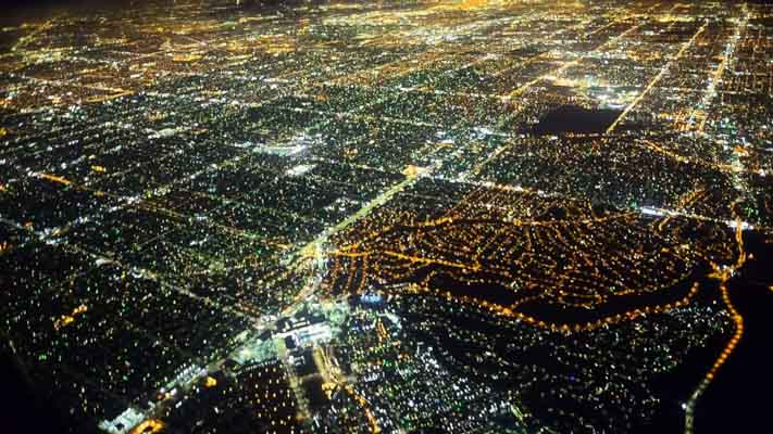California - Los Angeles - Night Flight Over LA II