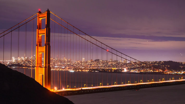 California - San Francisco - Golden Gate Bridge at Night
