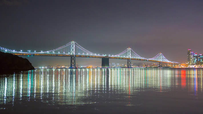 California - San Francisco - Bay Bridge at Night