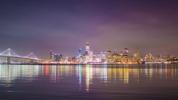 California - San Francisco Night Skyline from Treasure Island