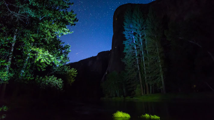 California - Yosemite NP - El Capitan and the Merced at Night