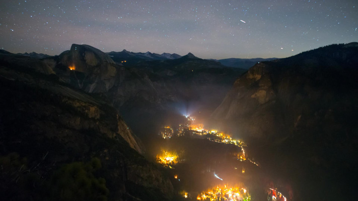 California - Yosemite NP - The Valley Floor at Night