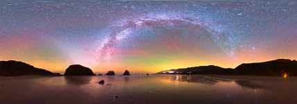 California - Big Sur at Breaker Point and Milky Way - 360
