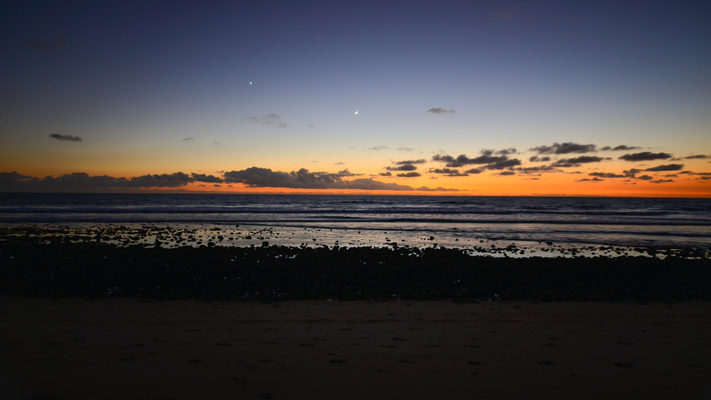 California - Moon and Venus Set over the Pacific