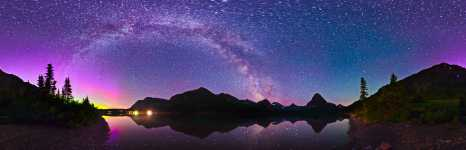 Montana - Glacier NP - Milky Way and Aurora Over Two Medicine Lake - 360