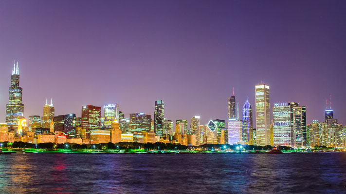 Illinois - The Chicago Skyline at Night