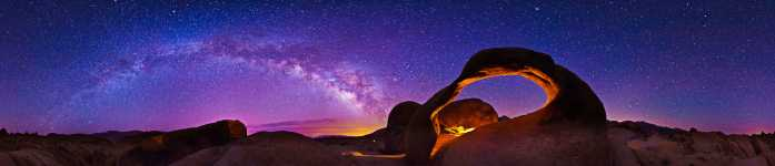 California - Mobius Arch and the Milky Way - Alabama Hills - Mount Whitney Portal - 360
