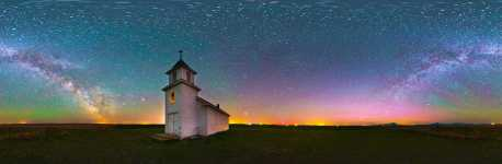 Montana - Oilmont - Bethany Lutheran Church and the Night Sky - Color