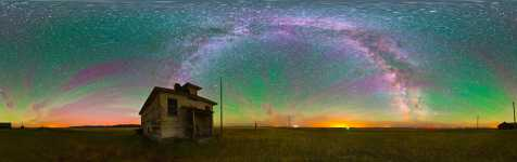 Montana - Rothiemay Schoolhouse and an Airglow Night Sky - 360