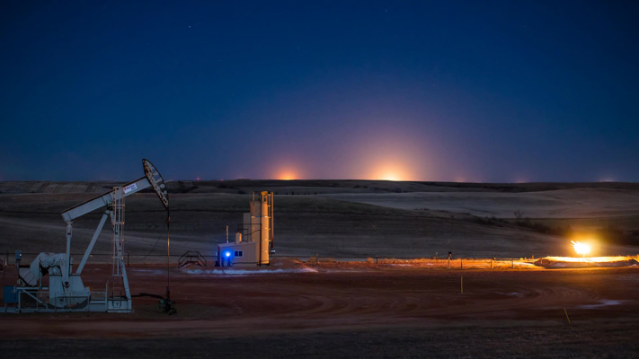 North Dakota - Natural Gas Flaring Destroying the Night Sky - Horizon View