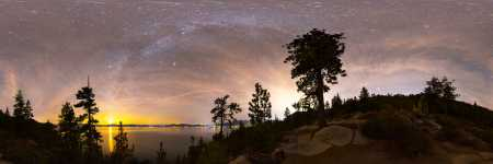 Nevada - Lake Tahoe and the Setting Moon - 360