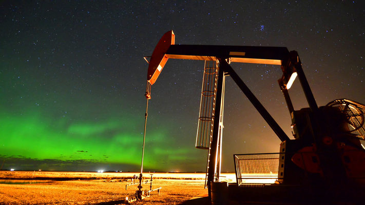 North Dakota - Aurora, Oil Pump and Gas Flare