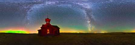 North Dakota - Elk Horn Schoolhouse and the Northern Lights - 360