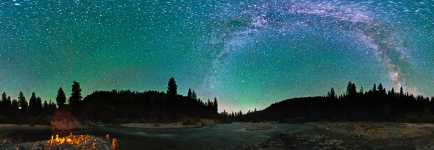 Idaho - S Fork Payette River and the Milky Way Starscape - Boise National Forest - 360