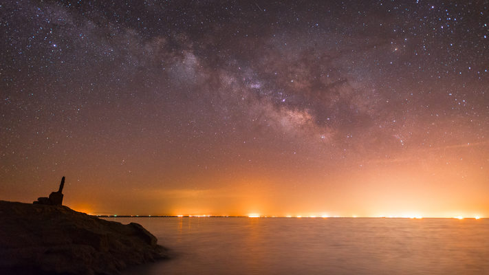 Salton Sea and the Lights of El Centro - Milky Way Timelapse