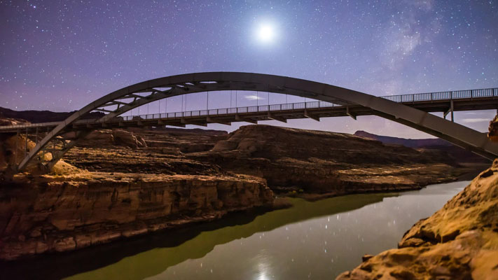 Utah - Colorado River Crossing at Hite and the Setting Moon