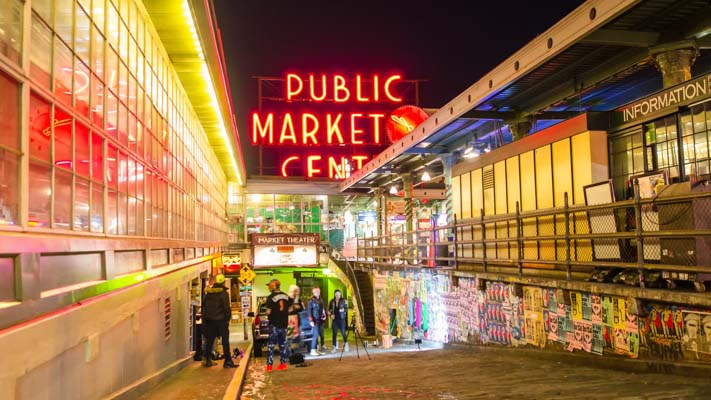 Washington - Seattle - Pike Place Market at Night