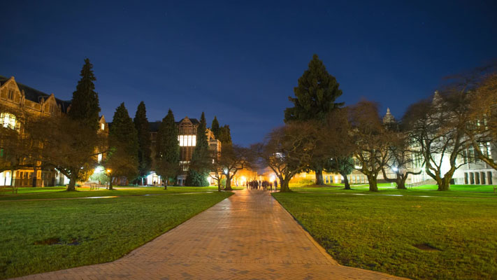 Washington - Seattle - University of Washington - Quad - Quadrangle at Night