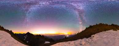 Washington - Mount Ellinor Snowpatch and the Lights of Seattle - 360